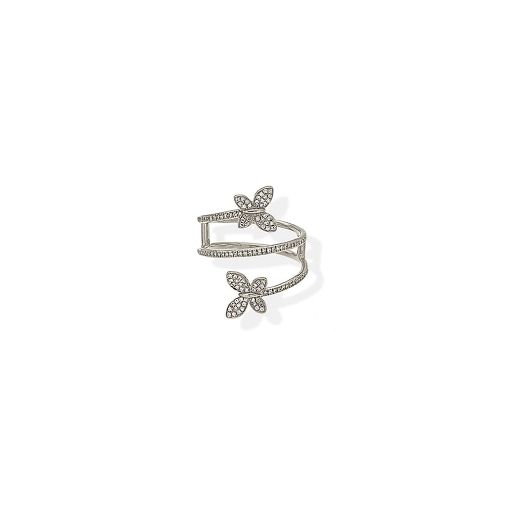 Diamond Butterfly Coil Ring