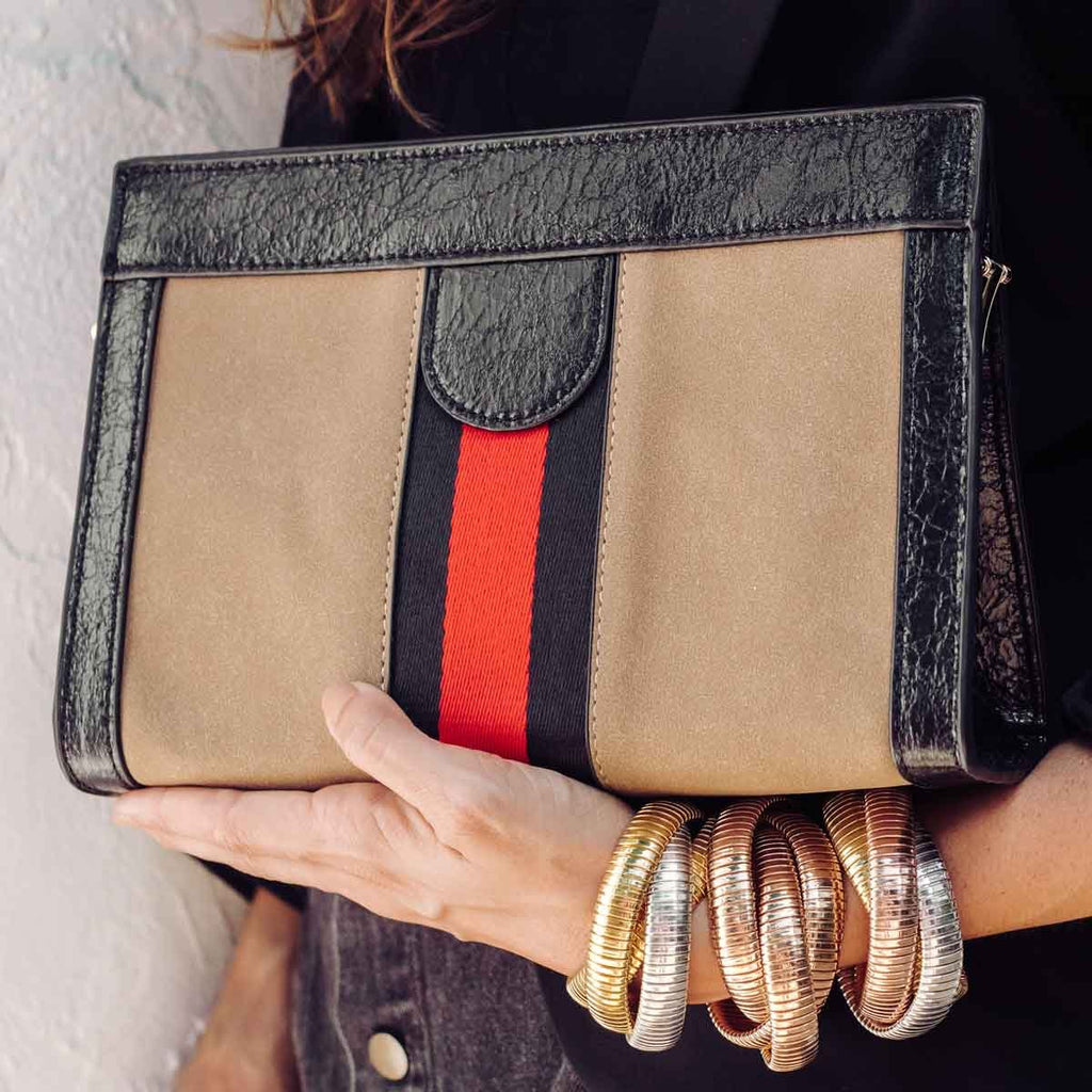 Sand Suede Clutch
