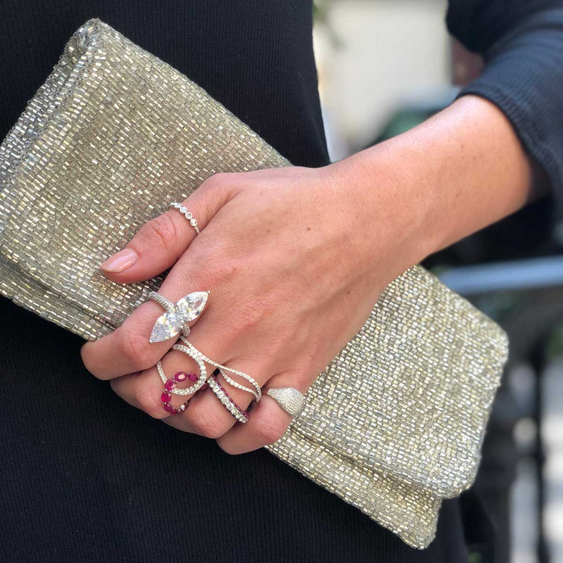 Silver Beaded Clutch