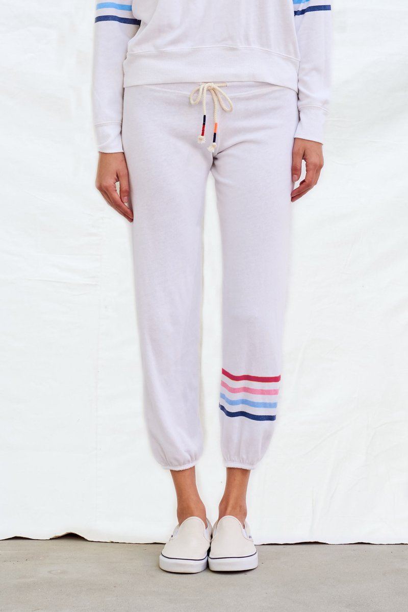 Multi Stripe Sweatpants White