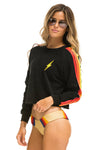 Bolt Stitch 4 Stripe Sweatshirt Black