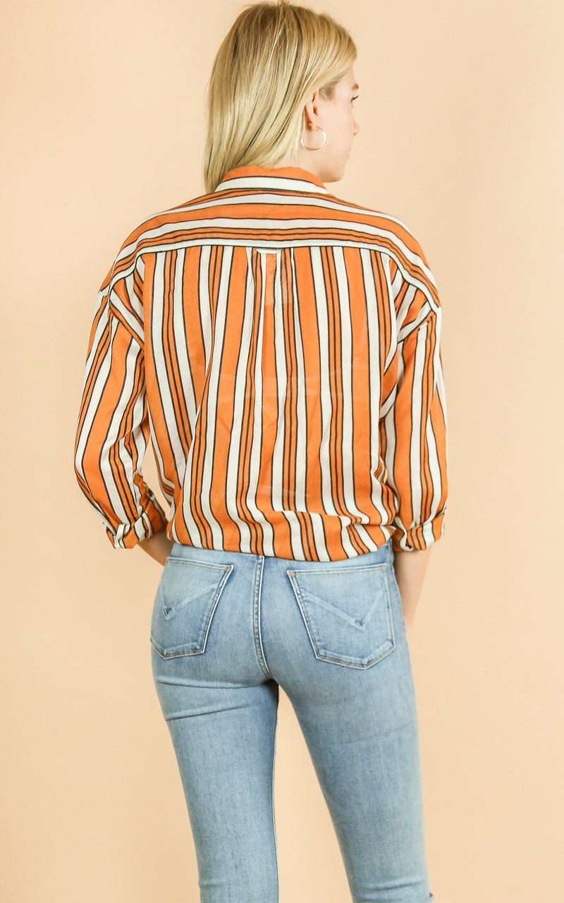 Boxy Fit Printed Shirt - Whiskey & Leather