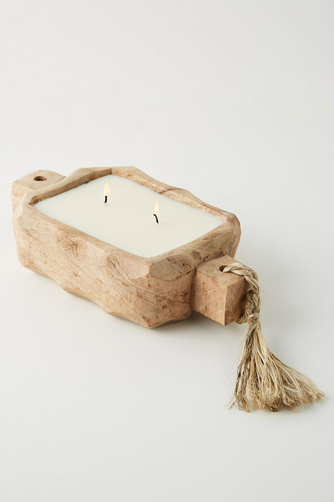 Driftwood Candle Tray Small Wild Green Fig