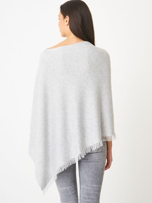 Cotton Blend Poncho Soft Grey