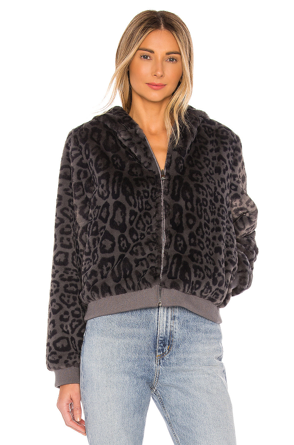Reversible Bomber Grey Leopard