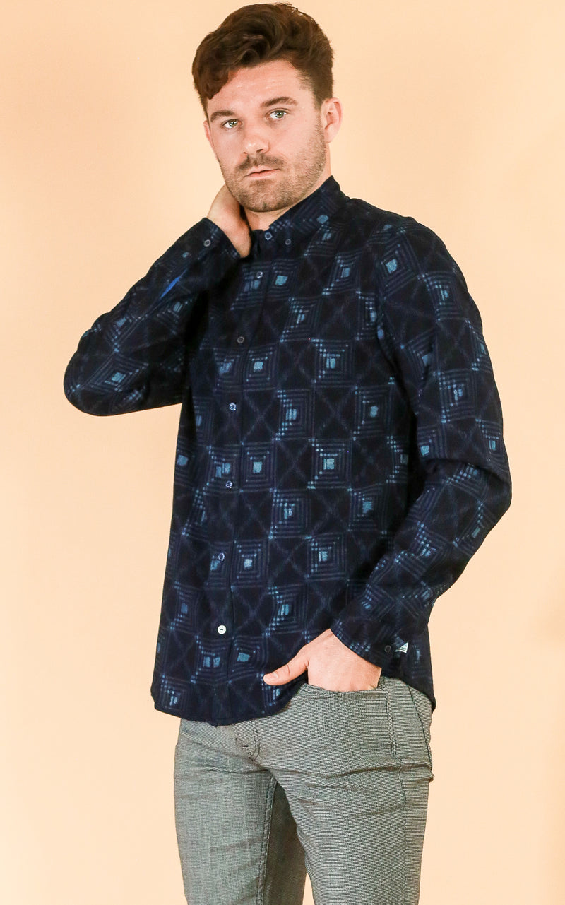 Checked Pattern Indigo Shirt
