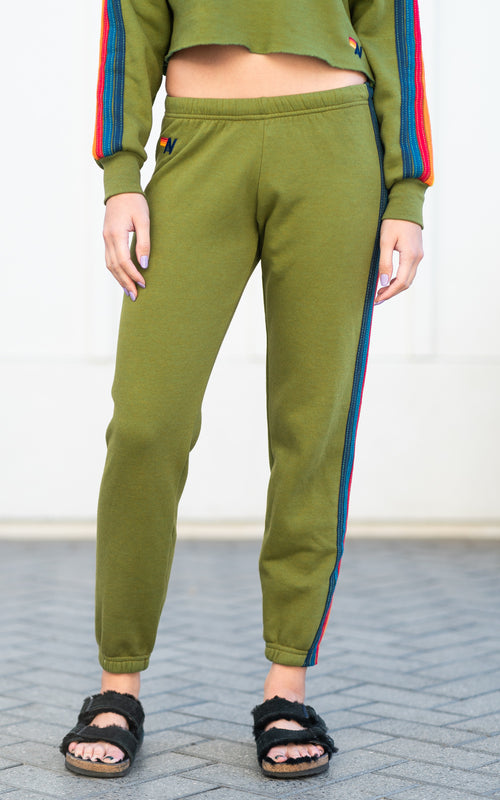 aviator nation olive green sweatpants