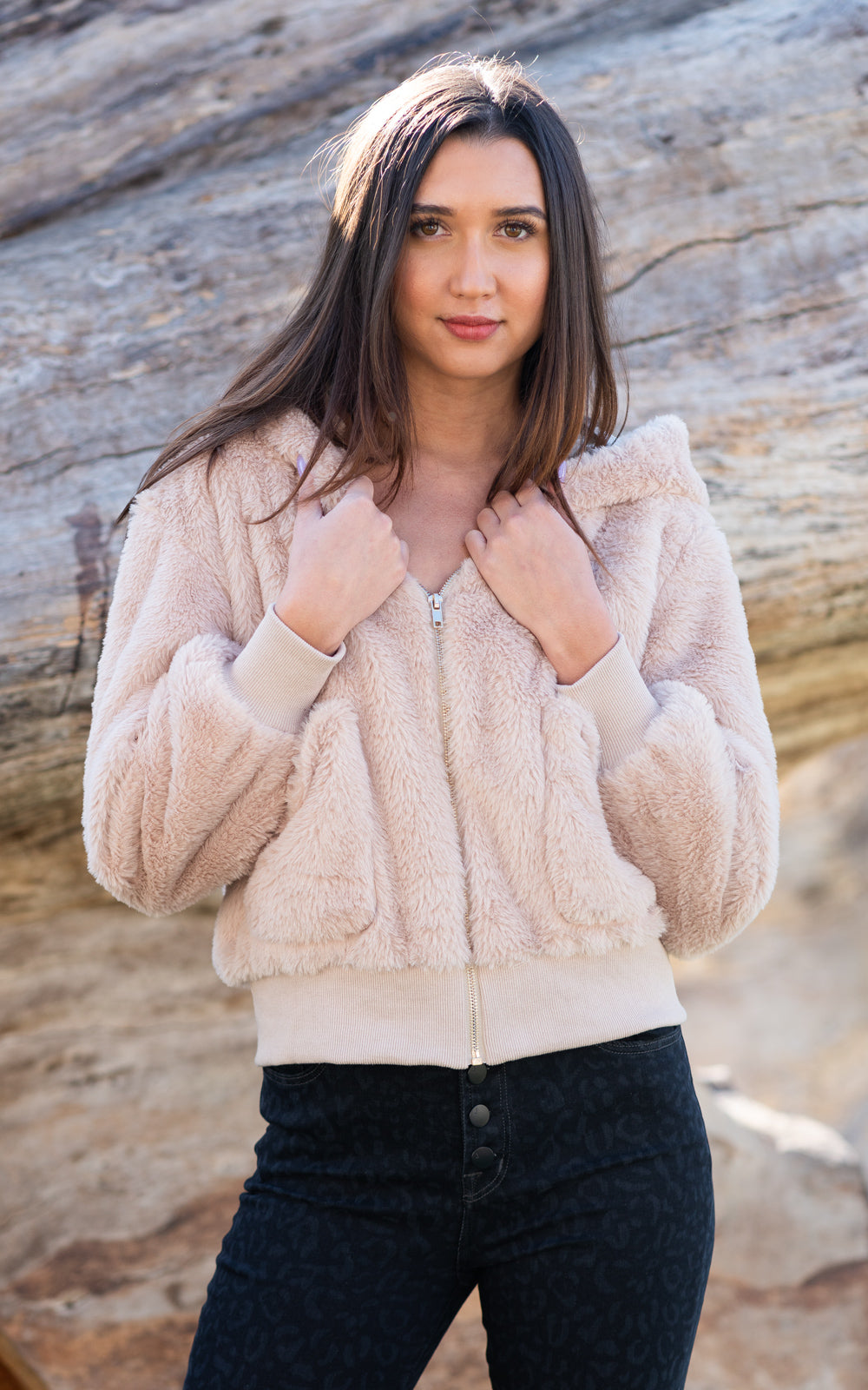 fuzzy ivory jacket by beach riot