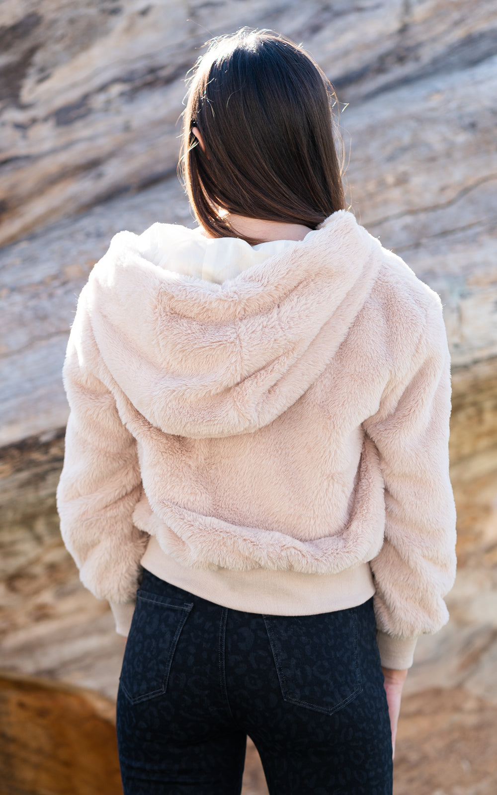beach riot faux fur ivory jacket