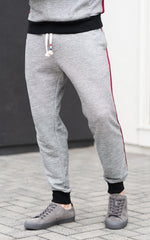Sol Angeles Sweatpants in grey with red side stripe