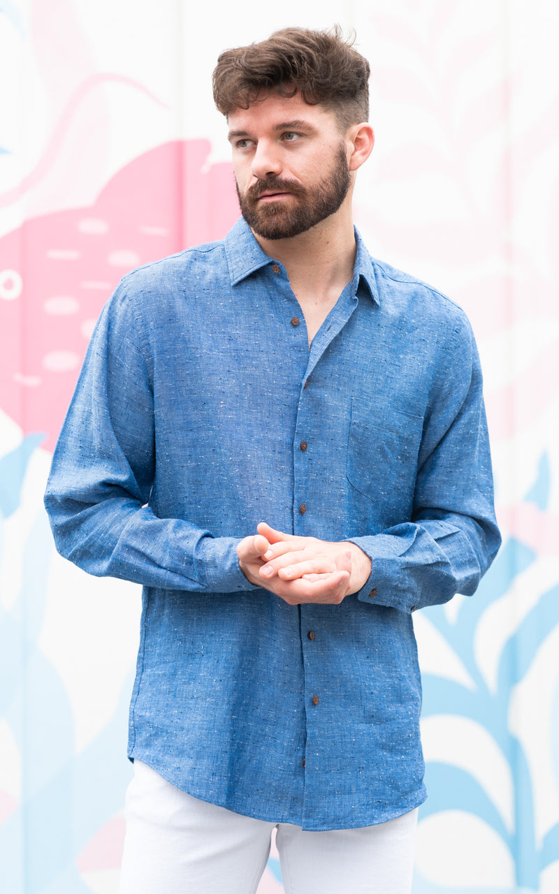 Rodd and Gunn Shirt in speckled blue