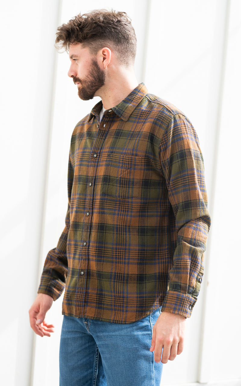 Corridor Flannel in brown, navy, and green