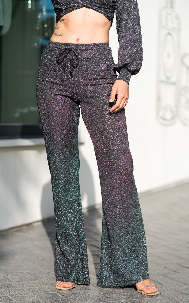 black sparkle pants by beach riot