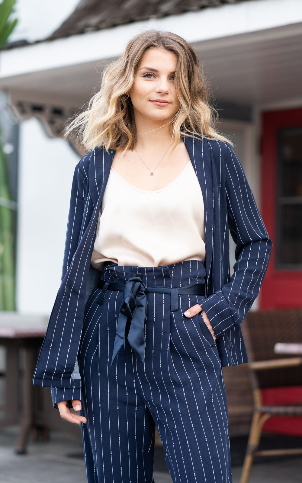 drapey pinstripe blazer by scotch and soda
