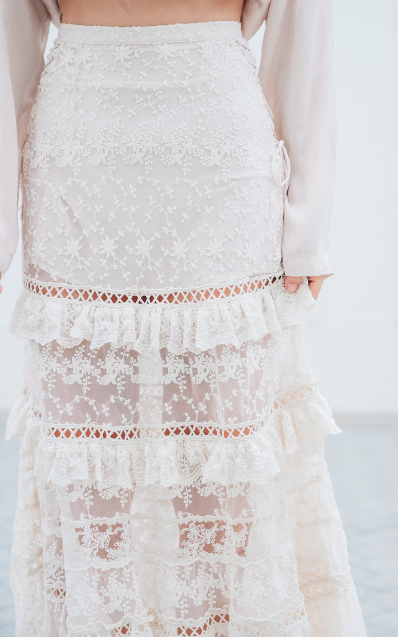 Le Gauze Lace Tiered Skirt