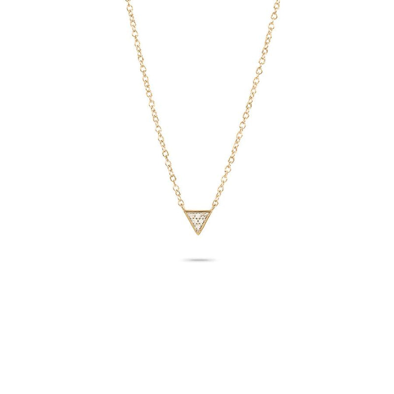 Tiny Solid Pave Triangle Necklace