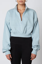 Seamed Quarter Zip Chambray