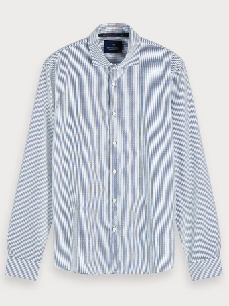 Scotch & Soda Button Down Shirt  in white with blue stripes