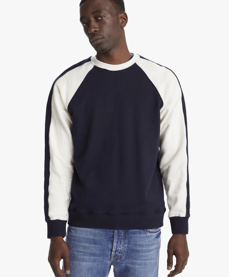 Mother Denim Sweatshirt in navy and cream