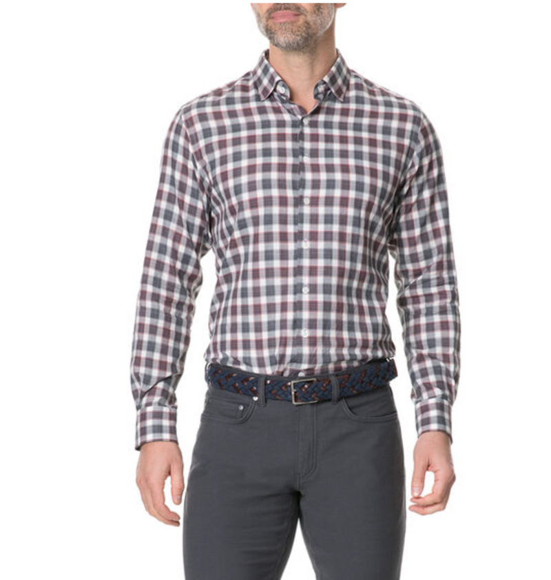 Rodd and Gunn Shirt in red, grey, and white plaid