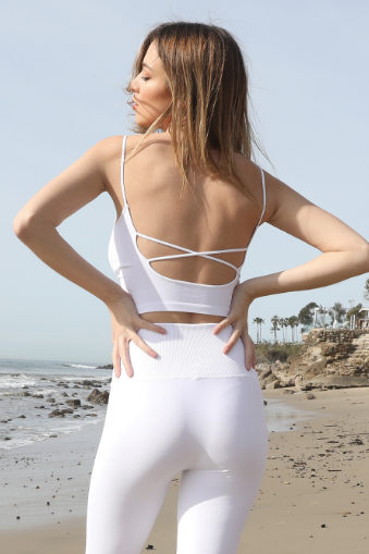 White Low Back Crop Top