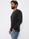 Black Eco Slub Long Sleeve Crew
