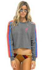 Pink Bolt Cropped Crew