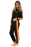 4 Stripe Sweats Neon Black