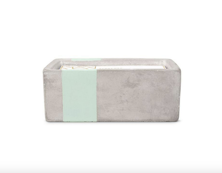 Sea Salt + Sage Rectangle Concrete Candle, 8oz.