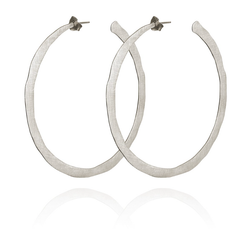 Large Hoop Earrings Brushed