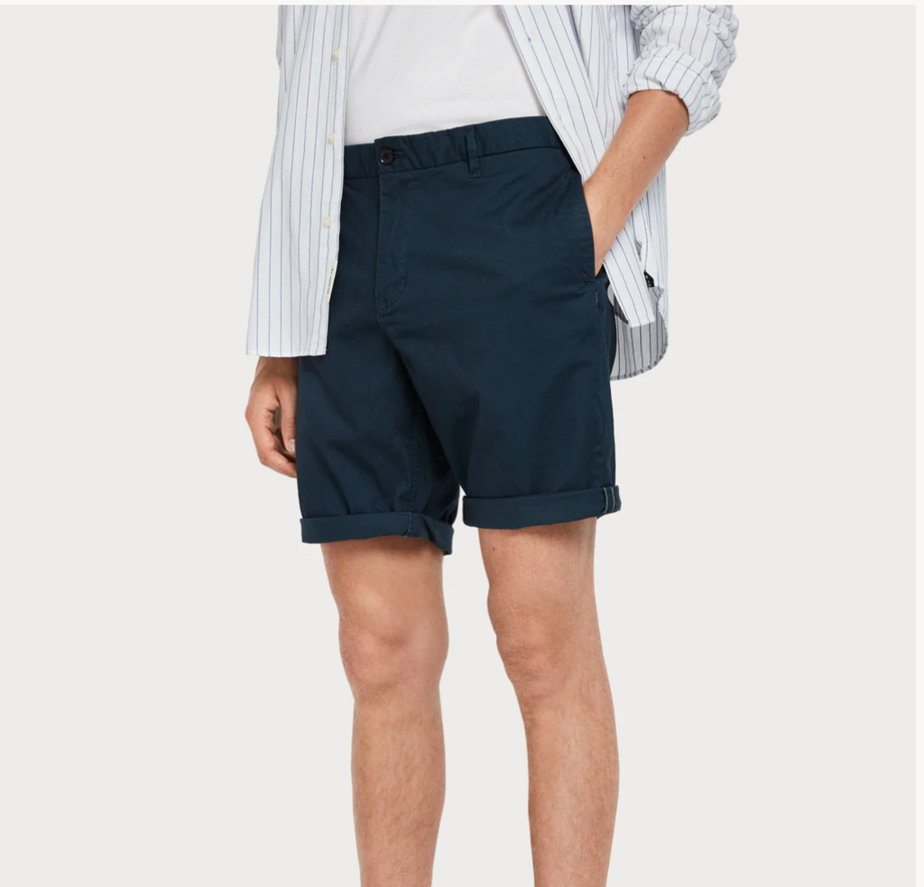 Classic Chino Short Navy - Whiskey & Leather