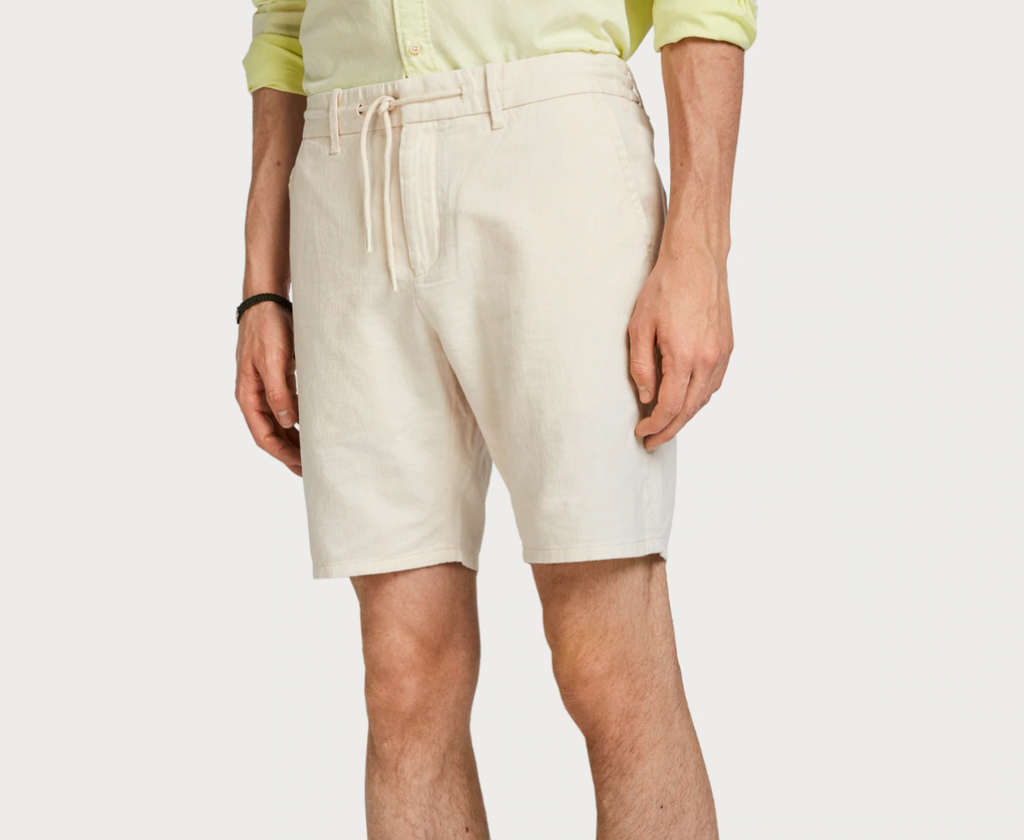 Cotton Linen Shorts Beige - Whiskey & Leather