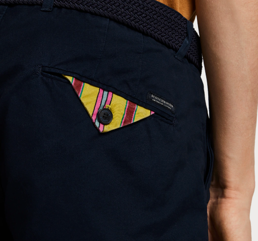 Classic Chino Short Pocket Detail - Whiskey & Leather