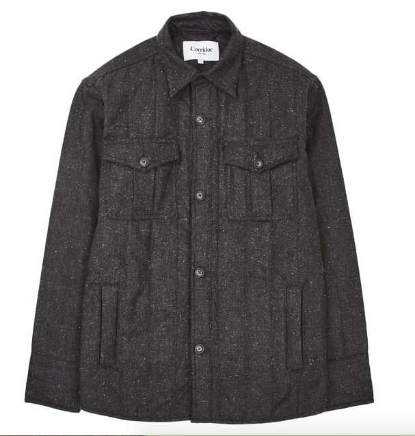 Charcoal Tweed Quilted Jacket