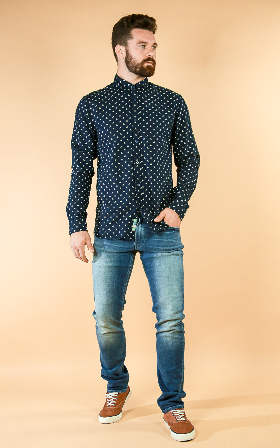 Navy Arrow Buttondown