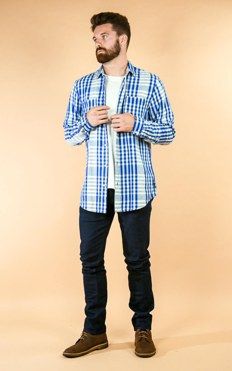 Check Twill Shirt Blue