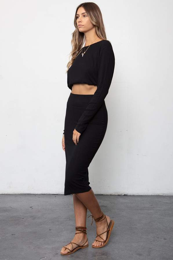 The Rib Edit Skirt Black
