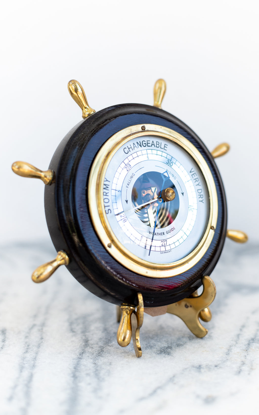German Barometer in wood with gold detail