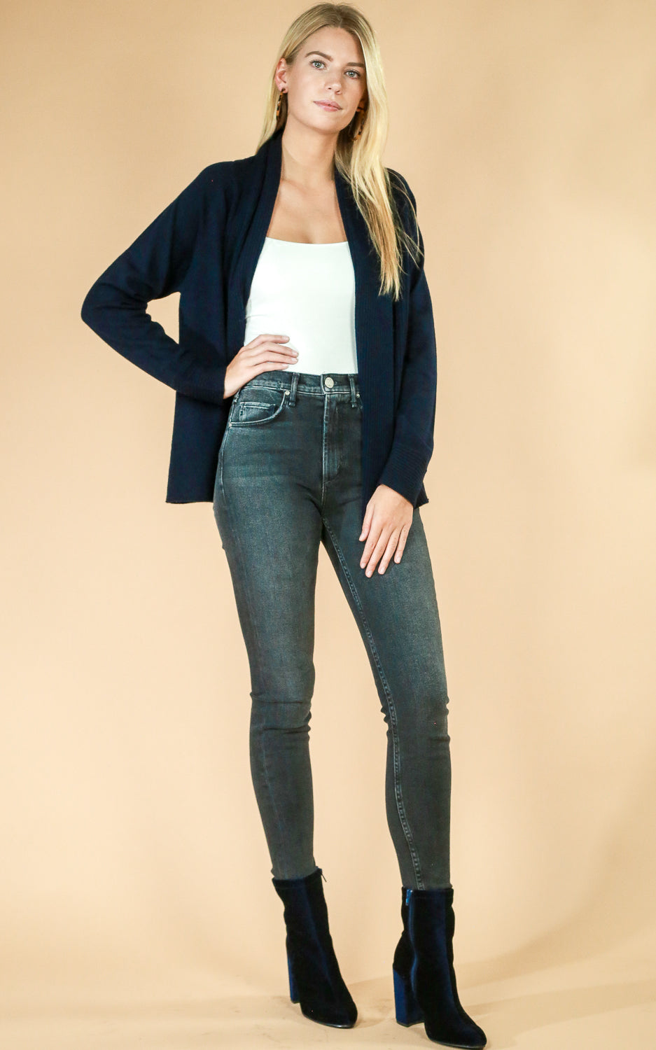 Navy Open Cardigan