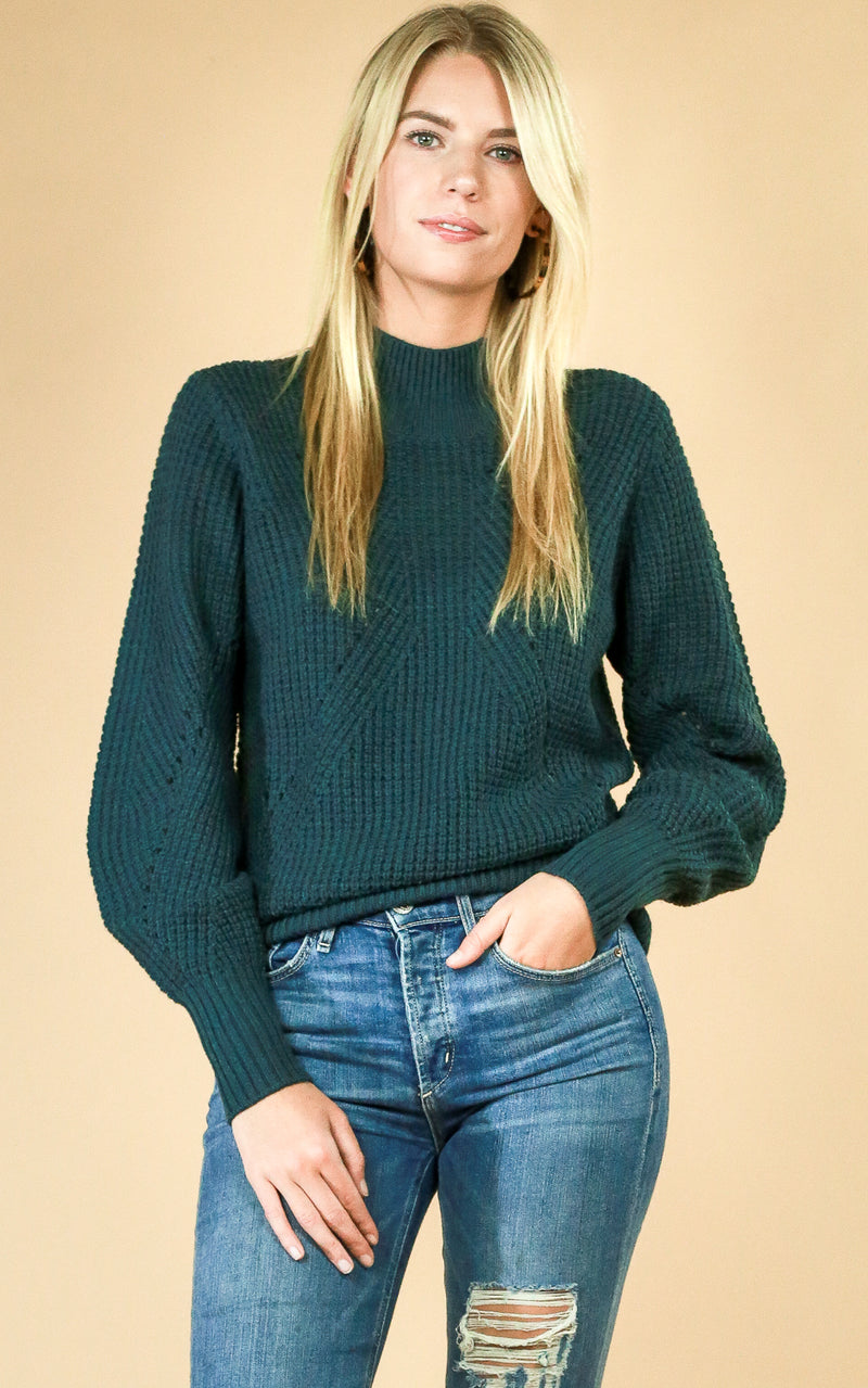 Green Stitch Mock Sweater