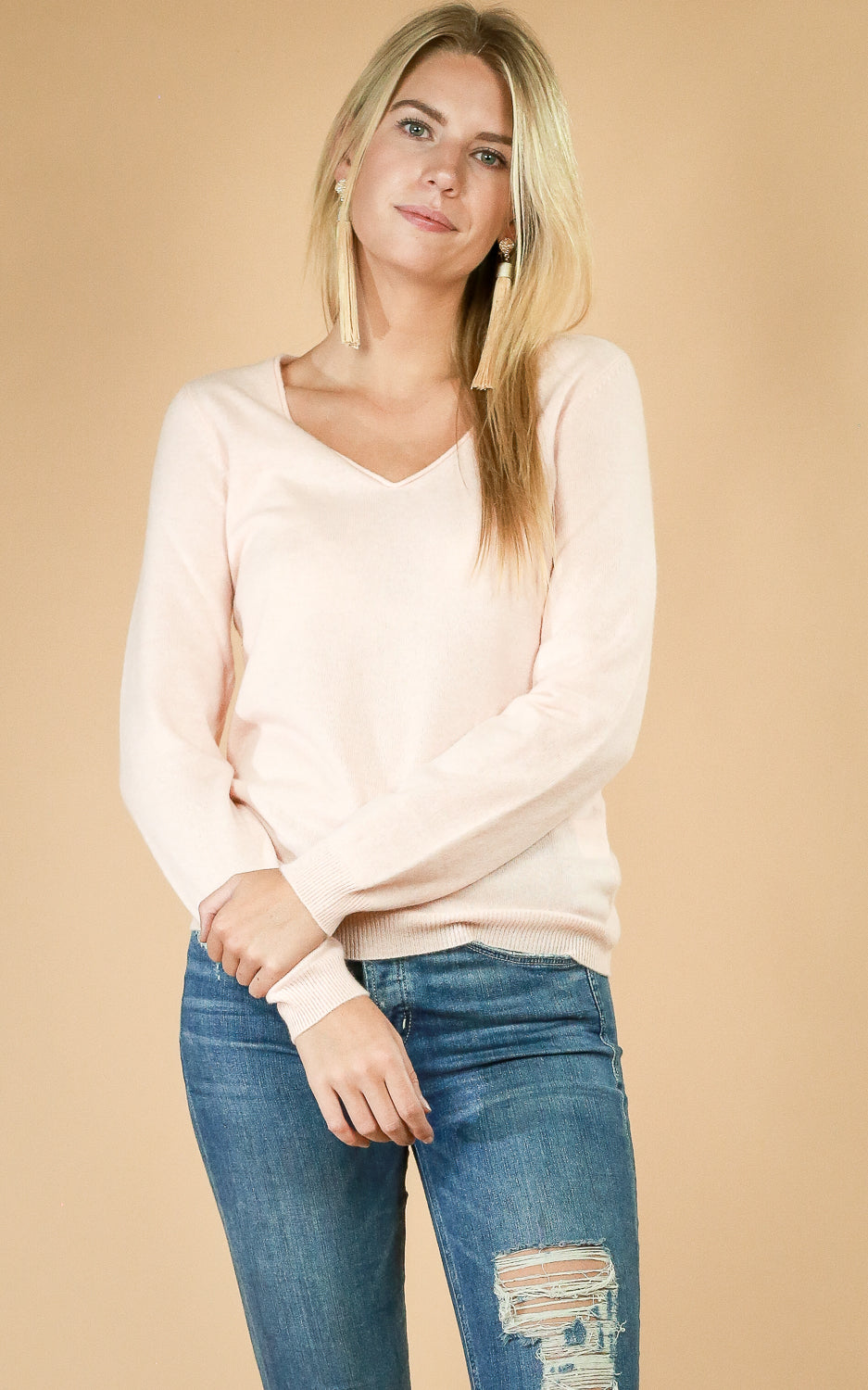 Cashmere Rolled Edge V-Neck