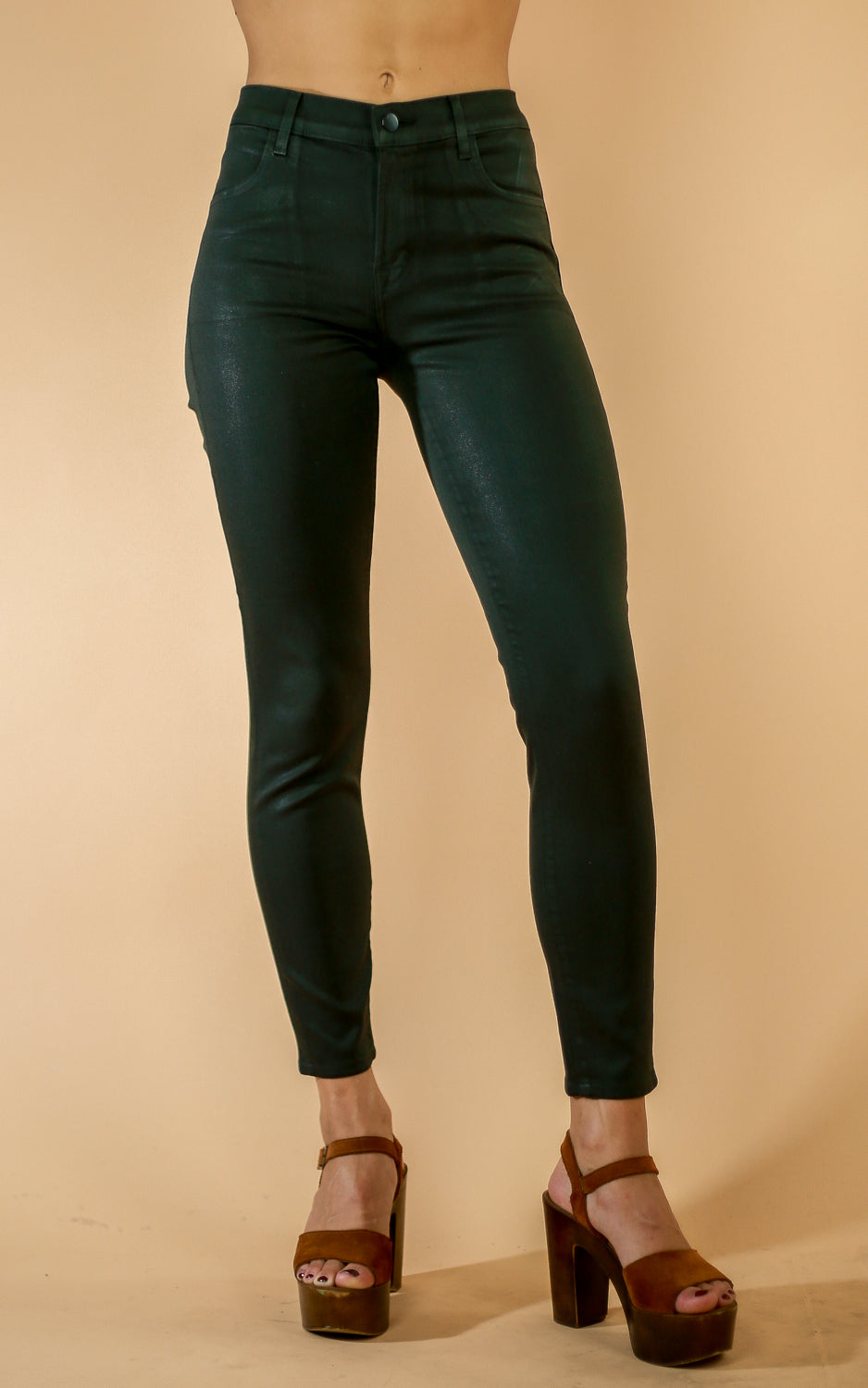 Alana High Rise Crop - Whiskey & Leather