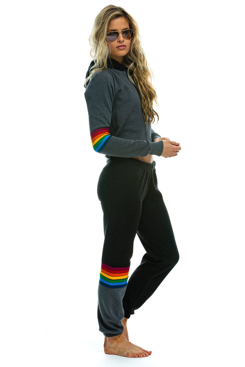 Black Rainbow Stitch Sweatpants