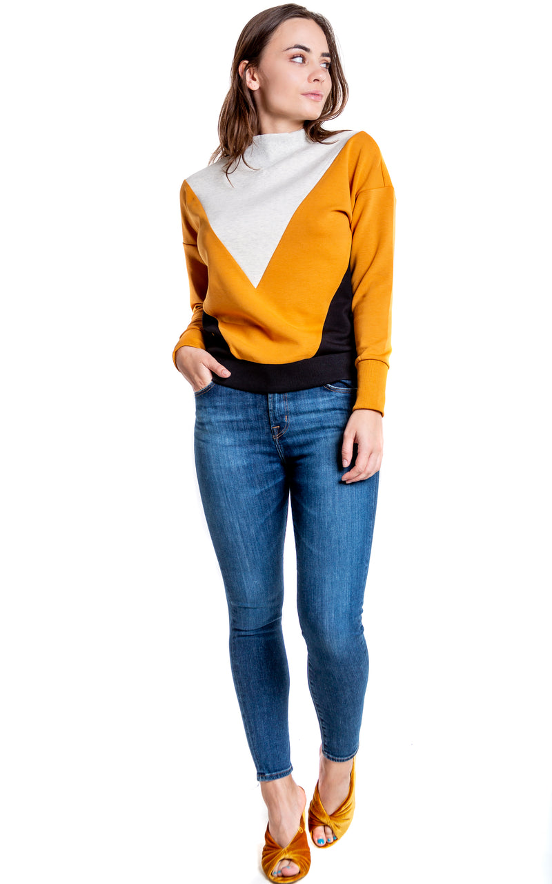 Color Block Sweatshirt - Whiskey & Leather