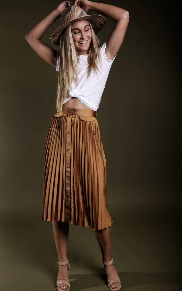 Honey Pleated Midi Skirt