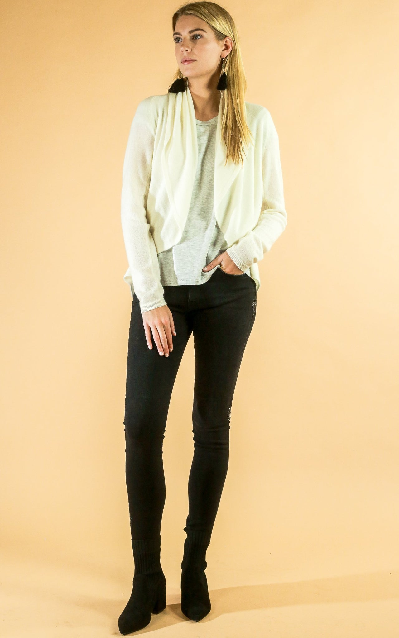 Cream Open Cashmere Cardigan