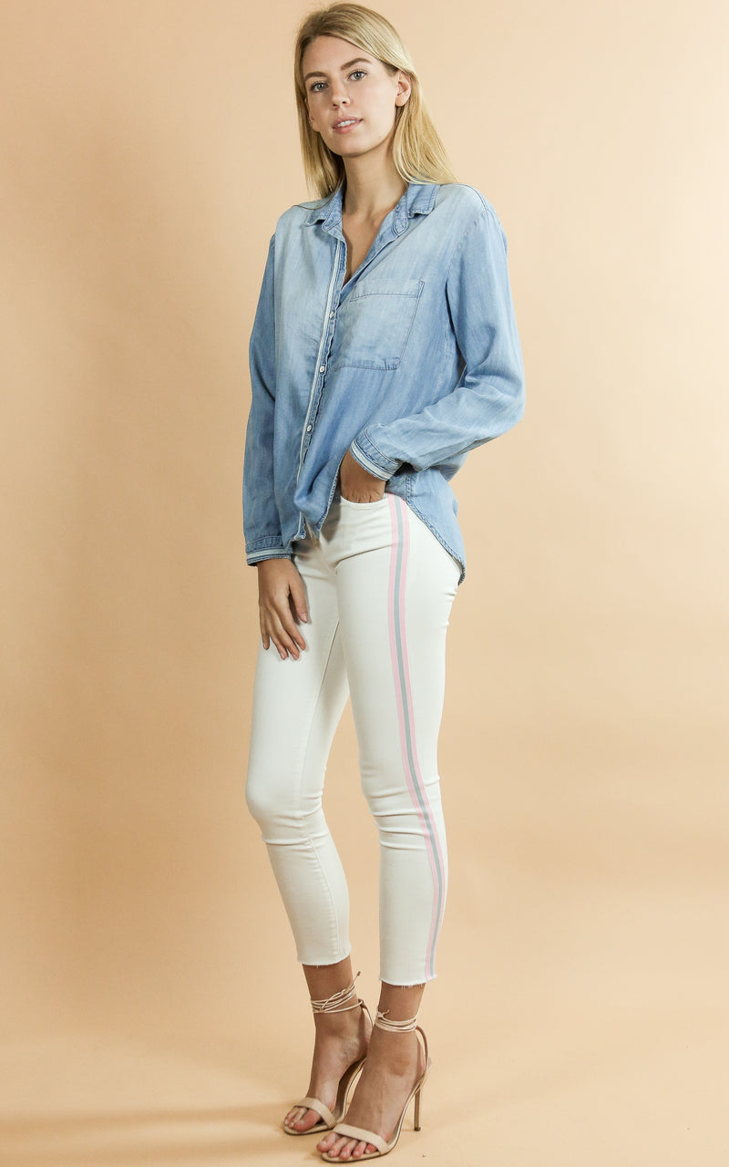 835 Mid Rise Crop Skinny - Whiskey & Leather, white, pink stripe,