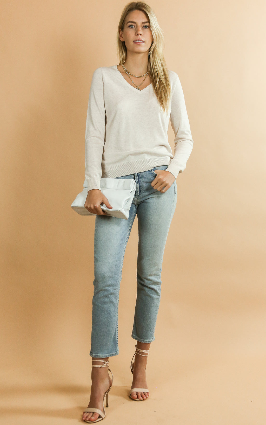 Cotton Blend V-neck Sweater Shell