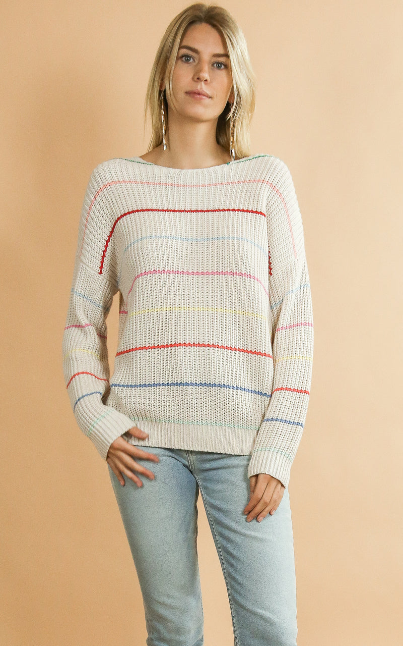 Chunky Knit Colorful Stripe Sweater