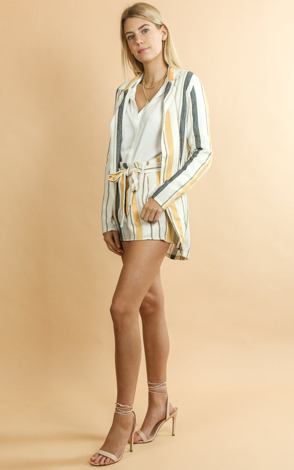 Blake Blazer Yellow Stripe - Whiskey & Leather